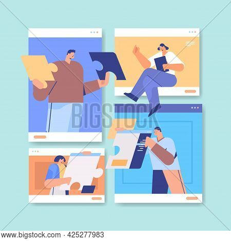 Businesspeople In Web Browser Windows Discussing During Video Call Business People Team Using Virtua