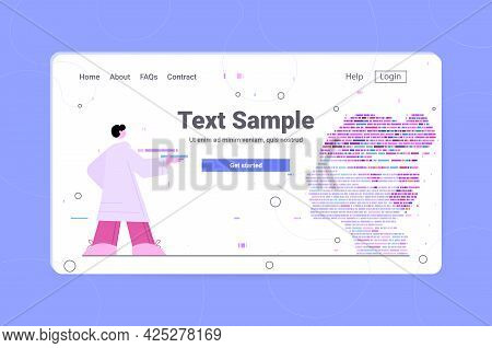 Dna Test Infographic Big Genomic Data With Woman Face Genome Sequence Map Horizontal