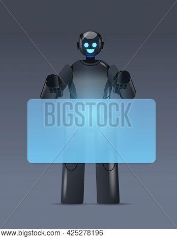 Black Robot Cyborg Pointing At Virtual Board Modern Robotic Character Artificial Intelligence Techno