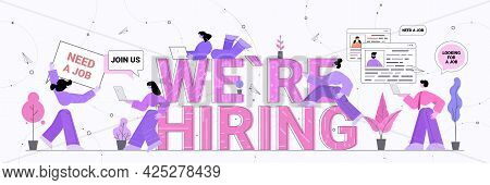 Hr Managers Using Digital Gadgets We Are Hiring Join Us Vacancy Open Recruitment Human Resources Une