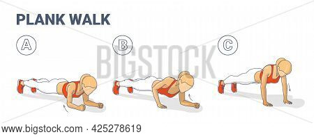 Girl Doing Woman Doing Plank Walk Up Exercise Fitness Home Workout Guidance Illustration.