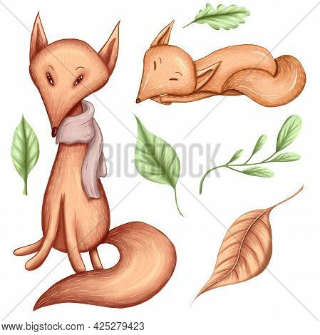 Cute Little Foxes, Orange Character, Happy Fall Animals Illustration, Sleeping Fox, Green Leaves Des