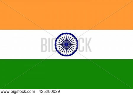 India Flag, Official Colors And Proportion Correctly. National India Flag. Eps10 Vector Illustration