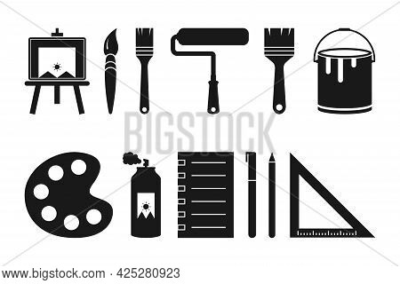 Set Of Painting Tools Icons Containing Canvas, Brush, Roller Brush, Paint, Palette, Spray Paint, Boo