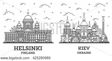 Outline Kiev Ukraine and Helsinki Finland City Skyline Set.