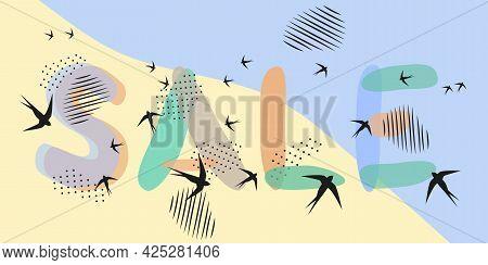 Summer Banner. Seashore, Sand, Birds, Lettering Sale. Hand Drawn Letters. Spots, Dot Strokes. Vector