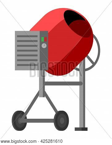Concrete Mixer Icon Isolated On White. Electric Concrete Mixer With Tipping Handle And Control Box.