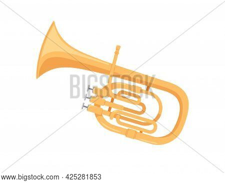 Brass Tuba, Wind Music Instrument. Classical Realistic Tube, Twisted Trumpet. Colored Flat Cartoon V