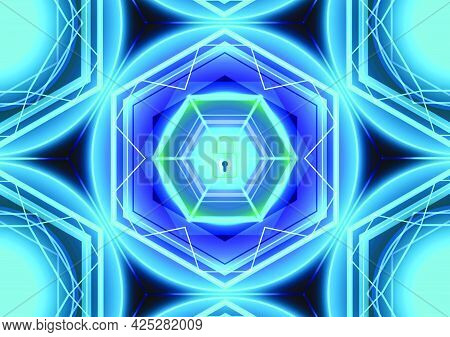 Abstract technology background. Digital glowing master key lock. Screen for cyber security safety