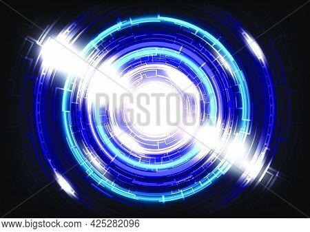 Glowing Hud circle. Abstract hi-tech blue background. Futuristic interface. Virtual reality technology screen