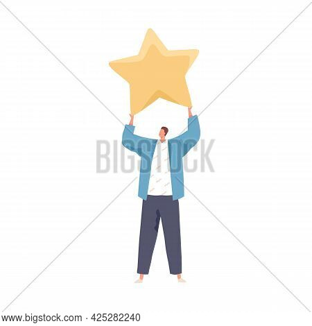 Satisfied Client Holding Star, Giving Feedback And Service Review. Concept Of Positive Customer Expe