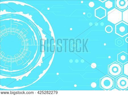 Virtual reality technology screen. Abstract hi-tech background. Futuristic interface. Geometric hexagon and circle shapes