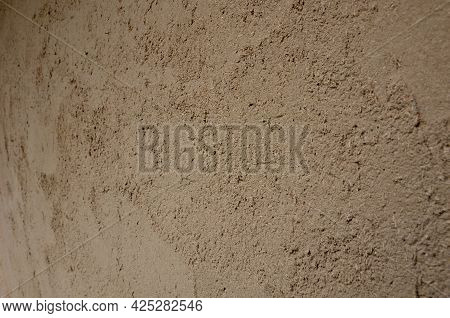 Old Plaster According To The Original Technology Using Clays And Chaff From Grain And Straw. Beige T