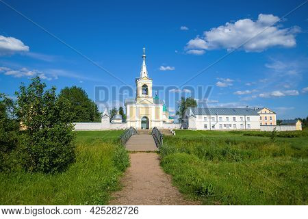 View Of The Vvedeno-oyatsky Convent On A Sunny July Day. Oyat, Russia