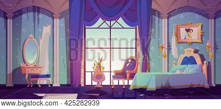 Abandoned Princess Bedroom Interior, Dilapidated Room With Broken Vintage Furniture, Bed, Ragged Wal