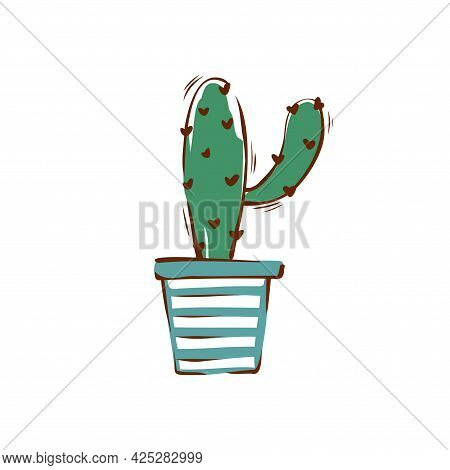 Cactus In A Striped Pot Hand-drawn Illustration. Vector.