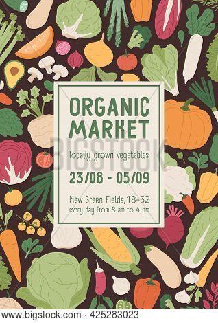 Flyer Design For Vegetarian Organic Local Market. Vertical Advertising Banner Template With Backgrou