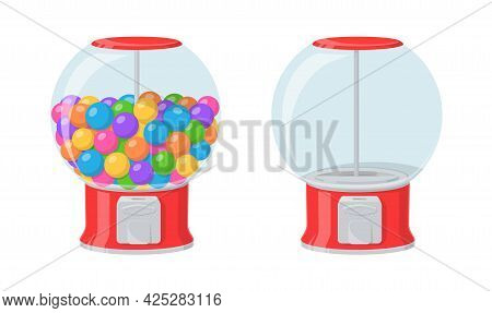 Gumball Machine, Red Dispenser With Colored Bubble Gums And Sweets. Vector Cartoon Set Of Empty Vend