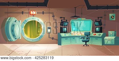 Underground Bunker, Scientific Laboratory For Secret Project Research. Headquarters Base Control Roo