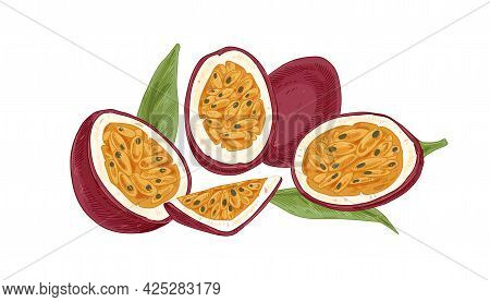 Ripe Fresh Passionfruit, Its Cut Juicy Flesh With Seeds. Piece Of Passion Fruits With Sweet Pulp. Ha