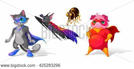 Superhero Animals Cartoon Characters. Funny Cat In Blue Mask And Paw Buckle On Cape, Bat With Raised