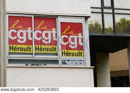 Montpellier , Ocitanie France  - 06 25 2021 : Cgt Text Sign And Brand Logo Of General Confederation