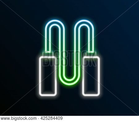 Glowing Neon Line Jump Rope Icon Isolated On Black Background. Skipping Rope. Sport Equipment. Color