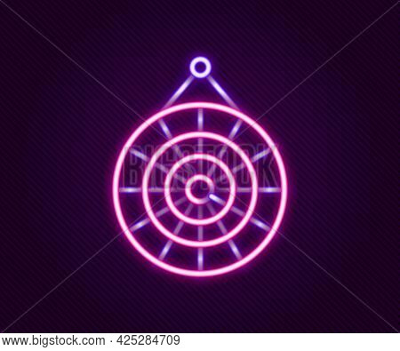 Glowing Neon Line Classic Dart Board And Arrow Icon Isolated On Black Background. Dartboard Sign. Ga