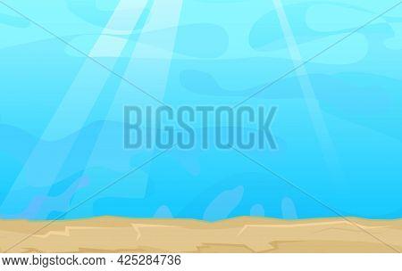 Sandy Bottom Of The Reservoir. Blue Transparent Clear Water. Sea Ocean. Underwater Landscape. Illust