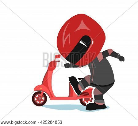 Scooter Driver. Biker Cartoon. Child Illustration. Angry. In A Sports Uniform And A Red Helmet. Cool