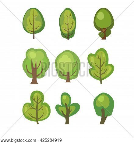 Flat Forest. Set With Trees. Illustration In A Simple Symbolic Style. Objects For A Funny Green Land