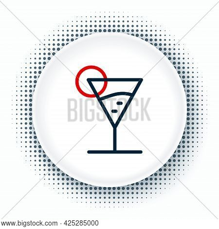 Line Martini Glass Icon Isolated On White Background. Cocktail Icon. Wine Glass Icon. Colorful Outli