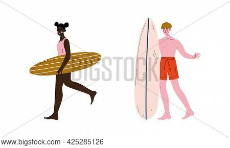 Man And Woman Surfer Standing With Surfboard Vector Set