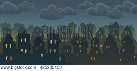 Town. Silhouette Of Cartoon Houses Of The Village Or City. Seamless Street. Night. Nice Cozy Private