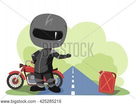 Biker Cartoon. Child Illustration. Asks For Gasoline. Sports Uniform And Helmet. Cool Motorcycle. Ch