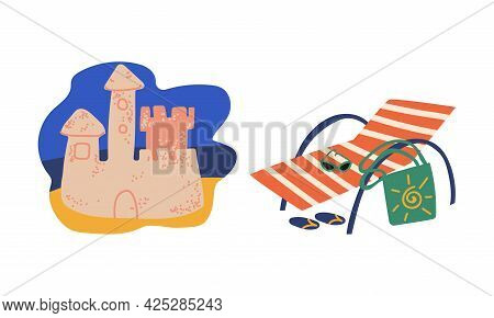 Summer Holiday And Beach Resort Symbols With Sun Lounger And Sand Castle Vector Set