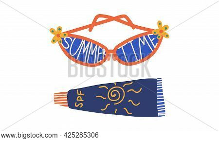 Summer Holiday And Beach Resort Symbols With Sunglasses And Suncream Vector Set