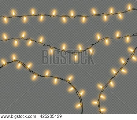 Christmas Lights Isolated On A Transparent Background. Christmas Electric Garland Of Yellow Light Bu