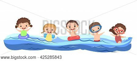 Children Fun And Splashing In Water. Swimming, Diving And Water Sports. Pool Or Beach. Isolated On W