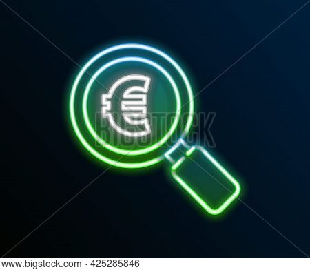 Glowing Neon Line Magnifying Glass And Euro Symbol Icon Isolated On Black Background. Find Money. Lo