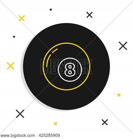 Line Billiard Pool Snooker Ball Icon Isolated On White Background. Colorful Outline Concept. Vector