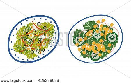 Salad With Mixed Greenery, Egg And Corn Served On Plate Above View Vector Set