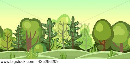 Flat Forest. Horizontal Seamless Composition. Cartoon Style. Glade. Funny Green Rural Landscape. Lev
