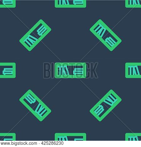 Line Shelf With Books Icon Isolated Seamless Pattern On Blue Background. Shelves Sign. Vector