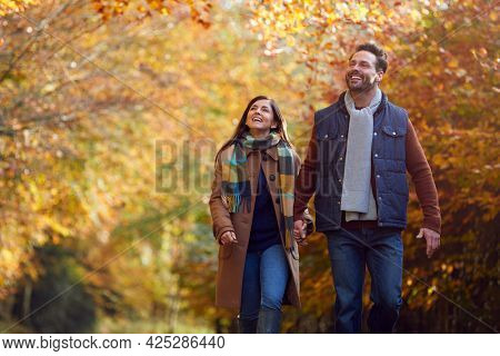 Loving Mature Couple Holding Hands Walking Along Track In Autumn Countryside