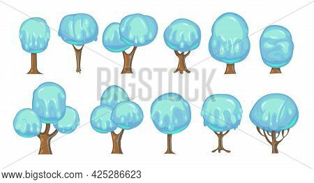 Set Of Fabulous Sweet Trees. For Landscapes With Blue Caramel, Ice Cream Or Jelly. Perspiration. Chi