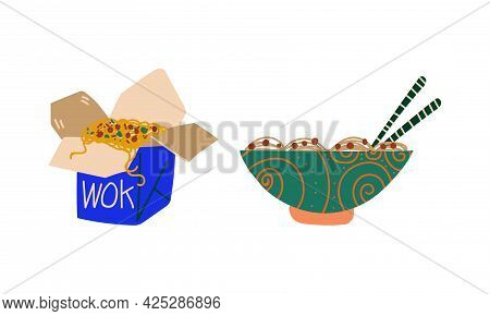Stir-fried Prepared Udon Noodle Served In Carton Box And Bowl Vector Set