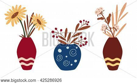 Vases With Dried Flowers And Autumn Flowers. A Set Of Decorations For The Interior In Boho Style. Su