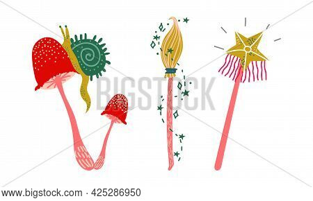 Magic Wand And Mushroom As Witchcraft Object For Spells And Performing Magical Rituals Vector Set