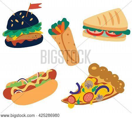 Junk Street Food Set. Burger, Hamburger, Pizza, Sandwich, Burrito And Hot Dog. Traditional Takeaway